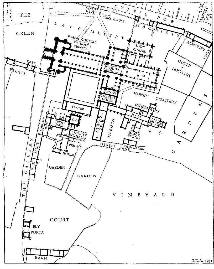Ely: Groundplan showing monastic buildings