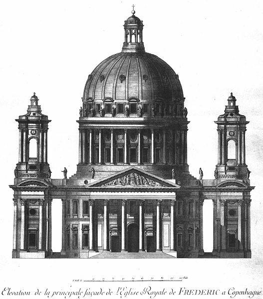 Nicolas Henri Jardin: Projekt für die Marmorkirche (Plans, coupes et élévations de l'église royale de Fréderic V, 1765)