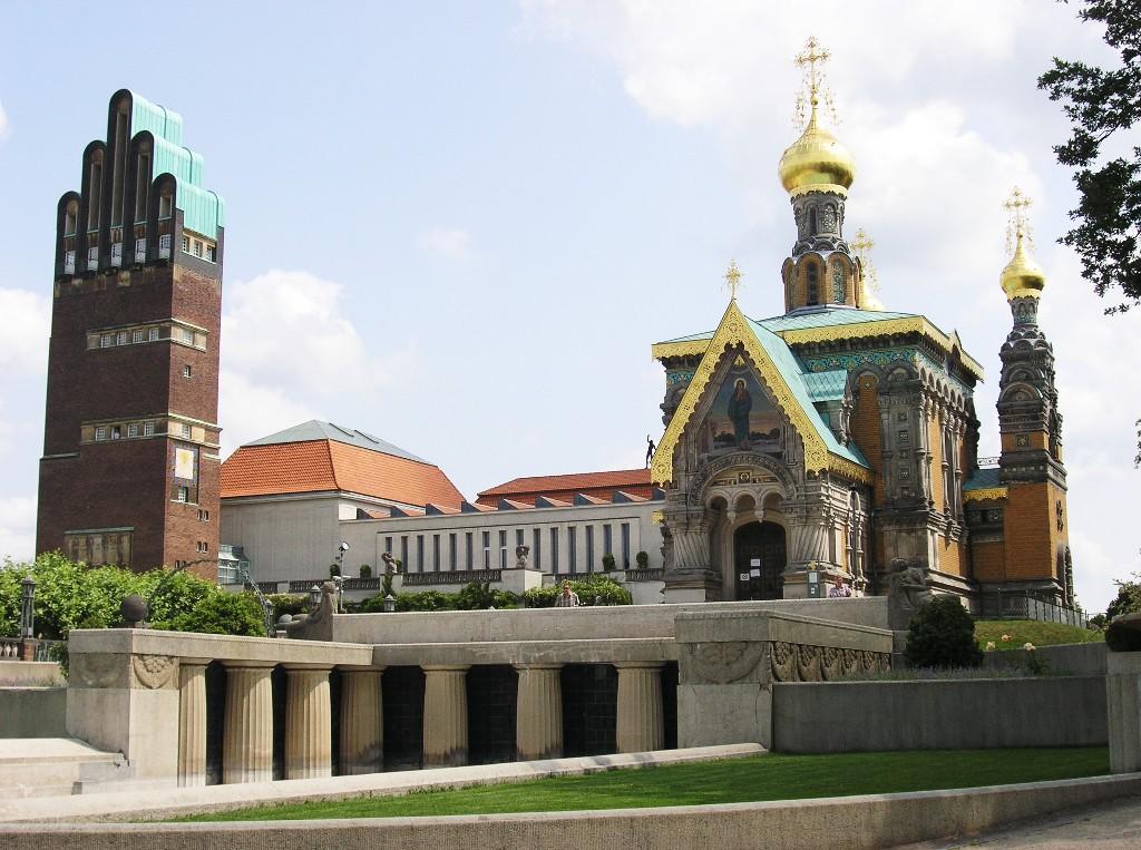 Darmstadt, Mathildenhöhe: Hochzeitsturm und Russische Kapelle